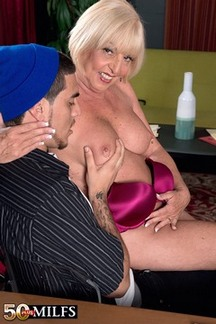 Sexy Granny Scarlet Andrews is horny for young cock
