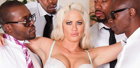 Blond MILF slut Holly Heart takes on for huge black cock at DevilsFilm.Com