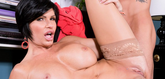 Super sexy MILF Shay Fox strips out of her clothes and fucks at scoreland.com