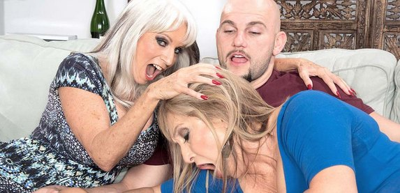 Sally D'Angelo and senior porn star Luna Azul in hardcore action at 60PlusMILFs.Com