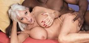 Granny sex star Sally D'Angelo getting stuffed with big black cock