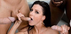 MILF porn star India Summer takes on five huge cocks and milks that with her hot pussy