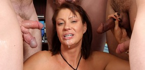 Gorgeous cougar Vanessa Videl gets fucked by five hung studs at goldenslut.com