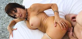 Senior sex star Vanessa Videl gets a good hard dick fucking at Naughty America